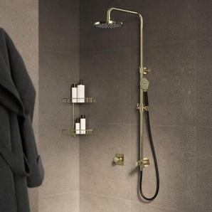 Hotbath Cobber Ensemble de douche pluie 20cm et flexible 150cm avec douchette laiton antique M438AB
