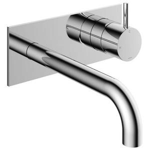 Hotbath Cobber Partie de finition pour robinet lavabo encastrable avec plaque derrière et bec 18cm chrome CB006EXT18CR