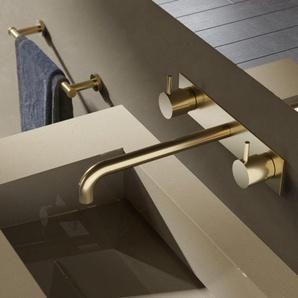 Hotbath Cobber Robinet lavabo encastrable 3 trous avec plaque derrière et bec 25cm Laiton antique mat HBCB005T/CB006TEXT25AB