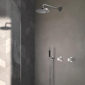 Hotbath Cobber Set de douche complet robinet encastrable avec inverseur 2 voies nickel brossé IBS21GN