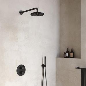 Hotbath Cobber Set de douche complet robinet thermostatique encastrable avec inverseur 2 voies arrêt nickel brossé IBS20AGN