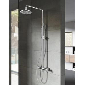 Hotbath SDS8 Cobber Set de douche à encastrer thermostatique avec 2 poussoirs et douchette 3 jets Nickel brossé SDS8GN1