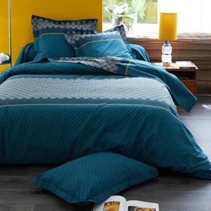 Housse de couette 140x200 cm 100% coton TALISMAN bleu Paon