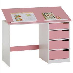 IDIMEX Bureau enfant EMMA, en pin massif, 4 tiroirs et plateau inclinable, lasuré blanc et rose