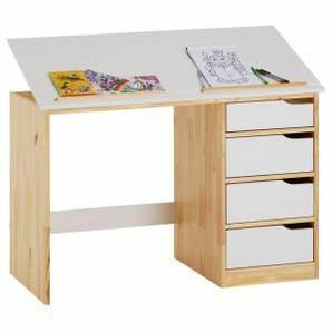 IDIMEX Bureau enfant EMMA, en pin massif, 4 tiroirs et plateau inclinable, naturel et lasuré blanc