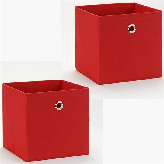 IDIMEX Lot de 2 boîtes de rangement BELLA, en tissu rouge