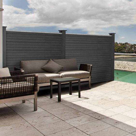 """IDMarket """"Kit d'extension panneau occultant RIO en bois composite gris H.160 x L.160 cm"""""""