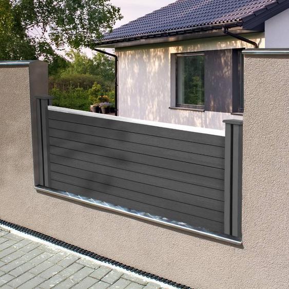 """IDMarket """"Kit de départ panneau occultant RIO en bois composite gris H.60 x L.160 cm"""""""