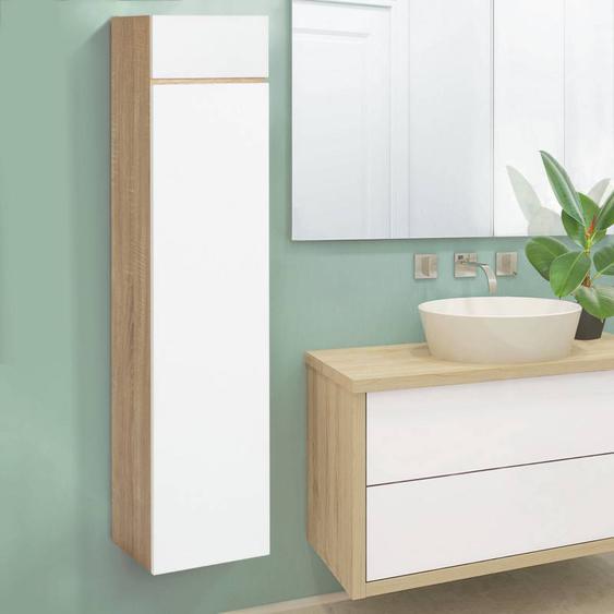 """IDMarket """"Meuble colonne suspendu 114 cm façon hêtre portes blanches pour salle de bain LILA"""""""