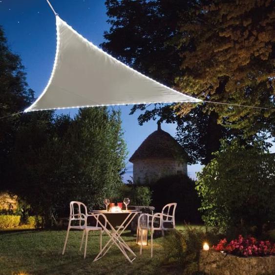 JARDILINE - Voile ombrage triangulaire 3,60 m LEDs solaires intégrées