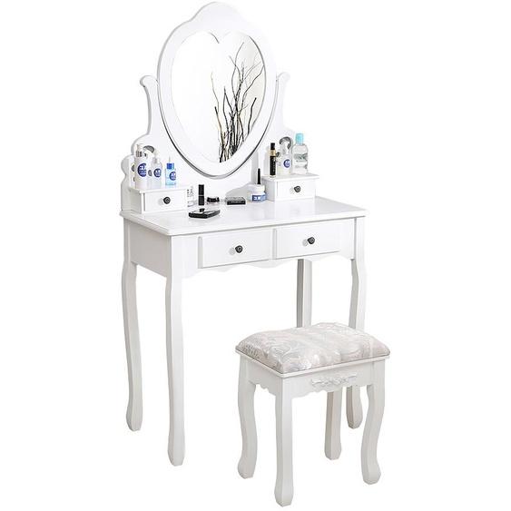 ®Coiffeuse avec miroir en forme de coeur Table de maquillage avec tabouret blanc - Jeobest