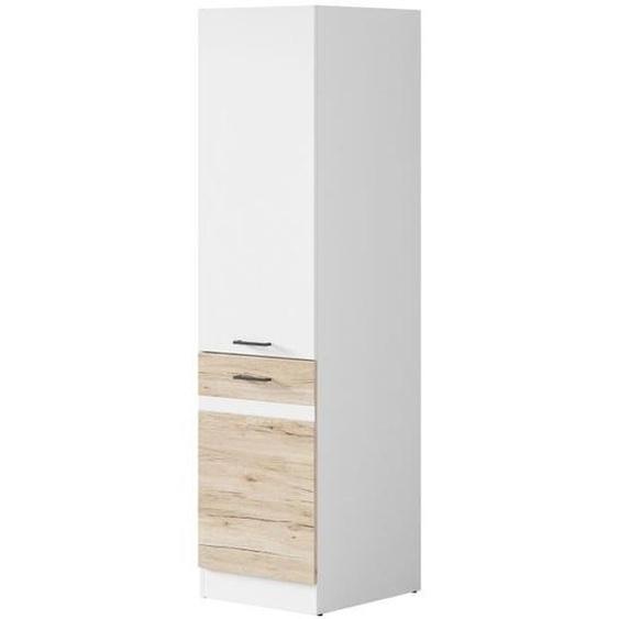 JUNONA Colonne de cuisine L 50 cm - Blanc brillant et décor chêne San Remo clair