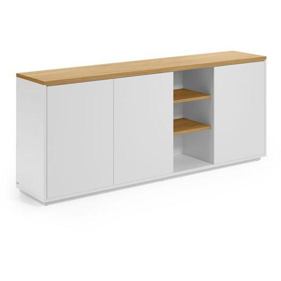 Kave Home - Buffet Abilen contreplaqué de chêne et laqué en blanc 180 x 75 cm