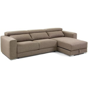Kave Home - Canapé Atlanta 3 places chaise longue marron 290 cm