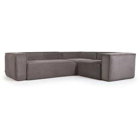 Kave Home - Canapé d'angle Blok 3 places velours côtelé gris 290 x 230 cm