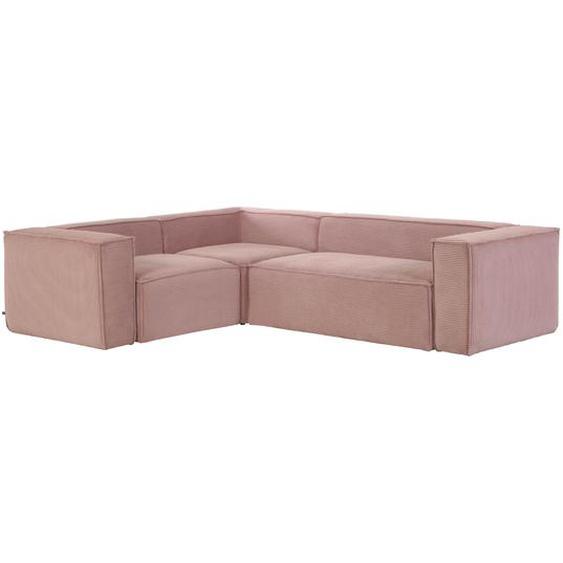 Kave Home - Canapé d'angle Blok 4 places velours côtelé rose 320 x 230 cm