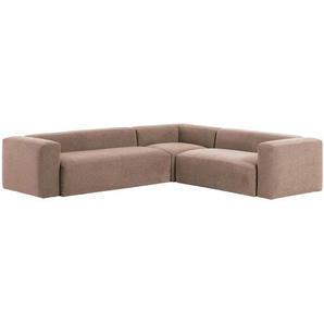 Kave Home - Canapé d'angle Blok 5 places rose 320 x 290 cm