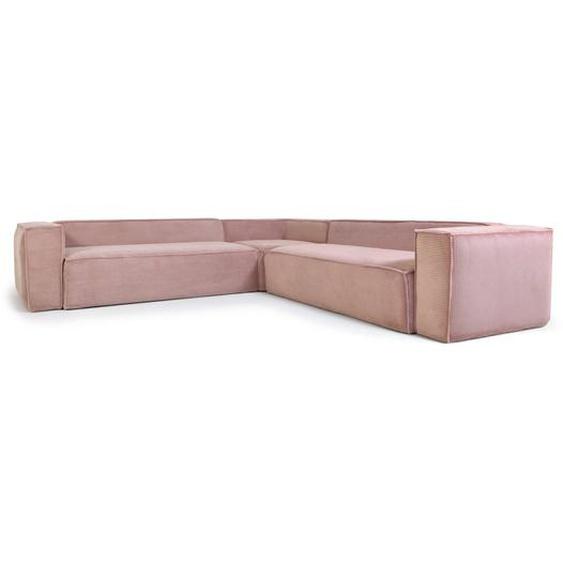 Kave Home - Canapé d'angle Blok 6 places velours côtelé rose 320 x 320 cm