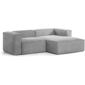 Kave Home - Canapé dangle droite Blok 2 places velours côtelé gris 240 cm