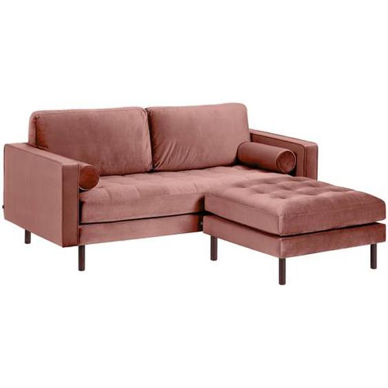 Kave Home - Canapé Debra 2 places avec repose-pieds en velours rose 182 cm