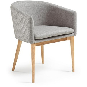 Kave Home - Chaise Harlan gris clair et naturel