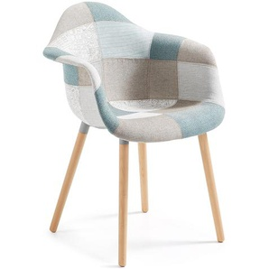 Kave Home - Chaise Kevya patchwork bleu