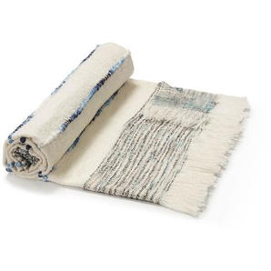 Kave Home - Plaid Ginnie 130 x 170 cm blanc et bleu