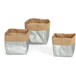 Kave Home - Set Kamori de 3 paniers argent