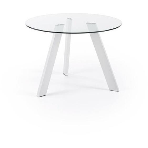 Kave Home - Table Carib Ø 110 cm verre pieds blanc