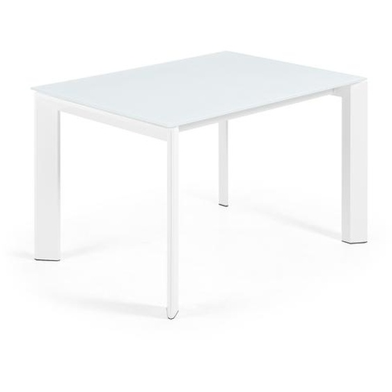 Kave Home - Table extensible Axis 120 (180) cm verre blanc pieds blanc