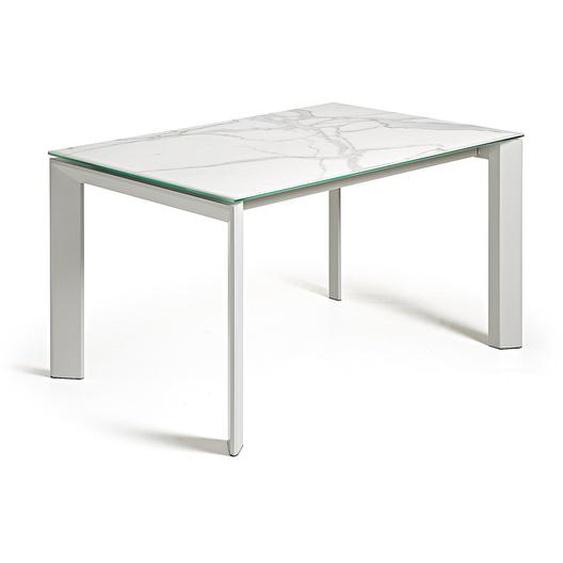 Kave Home - Table extensible Axis 140 (200) cm grès cérame finition Kalos Blanc pieds gris