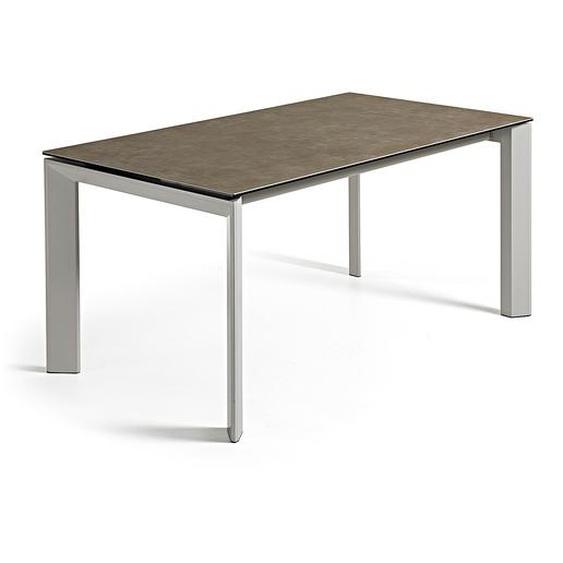 Kave Home - Table extensible Axis 140 (200) cm grès cérame finition Vulcano Ash pieds gris