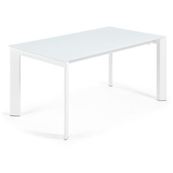 Kave Home - Table extensible Axis 160 (220) cm verre blanc pieds blanc