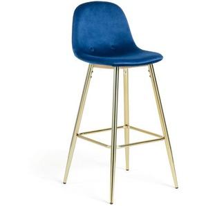Kave Home - Tabouret de bar Nolite velours bleu hauteur 75 cm