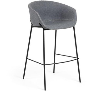 Kave Home - Tabouret de bar Yvette gris hauteur 74 cm