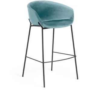Kave Home - Tabouret de bar Yvette velours turquoise hauteur 74 cm
