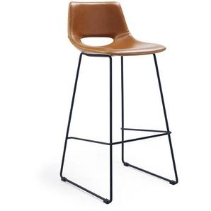 Kave Home - Tabouret Zahara en cuir synthétique marron hauteur 76 cm