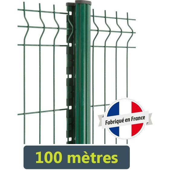 Easycloture - Kit clôture panneaux rigides fil Ø5mm - 100 mètres | Vert 6005 - 1.23 Mètre - Scellement