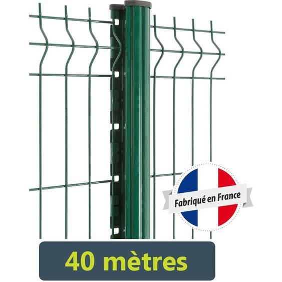 Kit clôture panneaux rigides fil Ø5mm - 40 mètres | Vert 6005 - 1.73 Mètre - Scellement - EASYCLOTURE