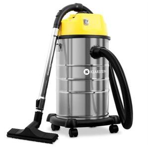 Klarstein IVC-30 - Aspirateur industriel avec réservoir inox de 30 litres pour nettoyage professionnel de surfaces sèches ou humides (mobile avec ses roulettes, puissance 1800W ,8m de câble)