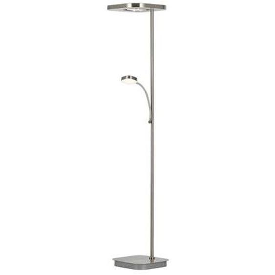 Lampadaire/liseuse 2 lumières LED Etana nickel mat H182 cm