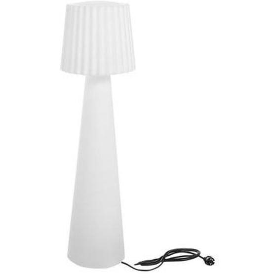 Lampadaire lumineux design filaire abat-jour ondulé pour extérieur éclairage puissant LED blanc LADY H150cm culot E27