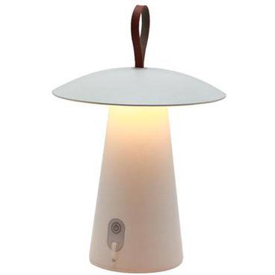 Lampe de table sans fil en aluminium anse en cuir LED blanc chaud FUNGY H29cm
