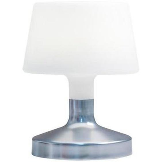 Lampe de table touch design sans fil pied en acier LED blanc chaud/blanc dimmable HELEN SILVER H21cm