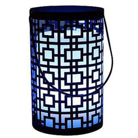 Lanterne sans fil orientale moucharabieh métal LED blanc/multicolore dimmable JOY C20 H23cm avec télécommande et socle à inducti
