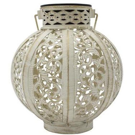 Lanterne solaire style oriental MOOD blanc acier H18cm