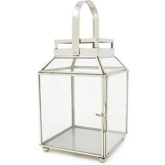 Lanterne vitrée Rodolphe argentée H 25 x l 17 cm