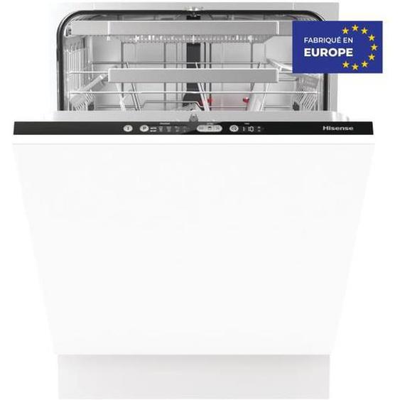 Lave-vaisselle encastrable HISENSE HV6131 - 16 couverts - Largeur 60 cm - Programme rapide 20 min - Ouverture auto - Cuve inox - Classe A+++ - 45 dB - Bandeau blanc