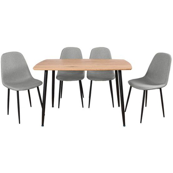 LEANA - Ensemble Table + 4 Chaises Tissu Gris Clair
