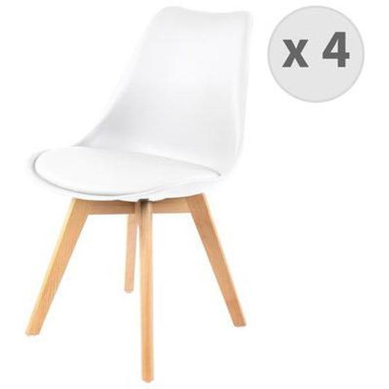 LIGHTY-Chaise PP blanc pieds Hêtre (x4)